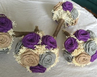 Bridesmaids Burlap Bouquet Purple Wedding Rustic Bouquets