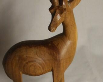 Vintage African Hand Carved Impala Antelope Gazelle Wood Sculpture Home Decor Wild Africa