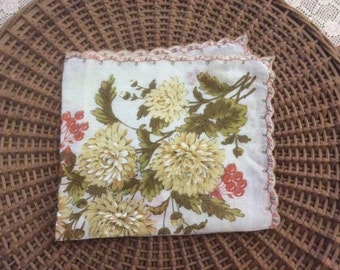 Vintage Fall Colors Flower Bouquet with Berries Handkerchief