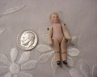 Antique Tiny Boy Doll Miniature German Bisque Porcelain Undressed