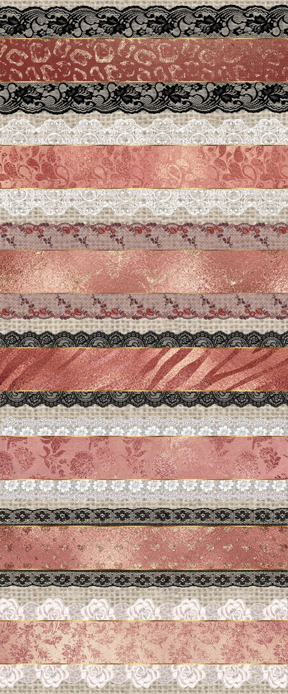 70 off rose gold glam lace trim scrapbook png lace for Border lace glam
