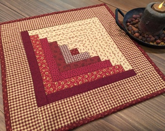 Quilted Table Topper / Log Cabin / Country Decor / Homespun / Primitive Decor / Handmade / Item #1410