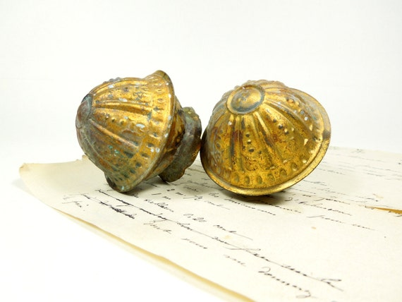 Set 2 Brass Curtain Pole Ends Bedpost Knobs staircase