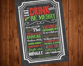 Chalkboard & Holly Printable Christmas Party Invitation