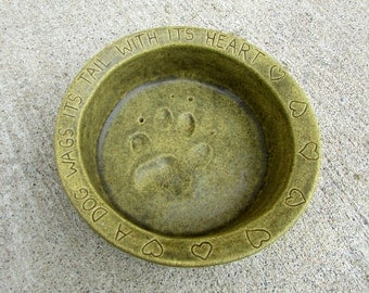 Ceramic Food Bowl for Small Dogs -- Joe Bowl Jr. in Mediterranean Olive glaze