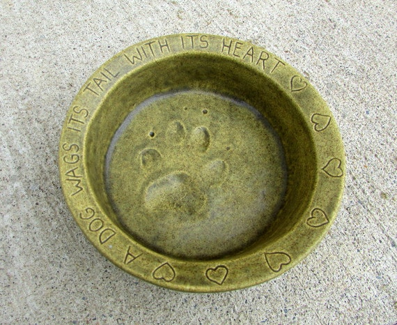 Ceramic Food Bowl for Small Dogs -- Joe Bowl Jr. in Mediterranean Olive glaze