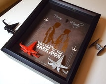 Star Wars Wedding Gift For Couple, Personalized Wedding Gift For Couple, Unique Wedding Gift, Engagement Gift, 8X10 Frame, 2 X Wing Figures.