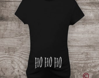 "Personalized funny Christmas Maternity t-shirt Pregnancy Announcement Maternity Mommy to be Shirt ""HO, HO, HO"" -a200"