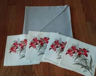 Vintage Tablecloth and Napkin Linen Set New