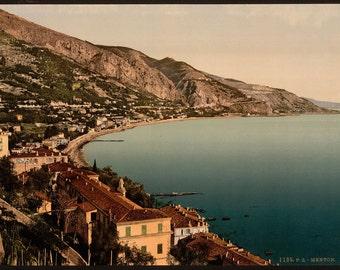 General view, Mentone, Riviera] 1890. Vintage photo postcard reprint 8x10-up.