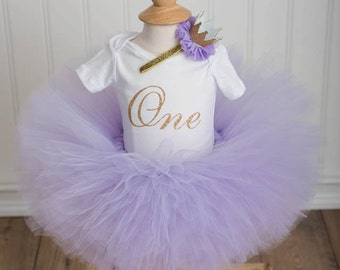 CAKE SMASH OUTFIT, Lavender and Gold Tutu set, First Birthday Onesiet, Lavender and Gold Birthday Outfit, 3 piece set,Lavender Tutu Set