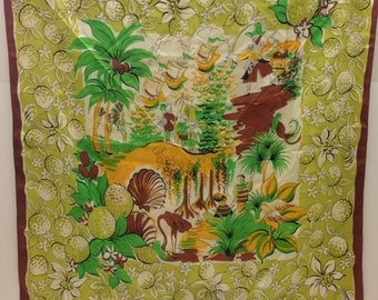 Vintage silk scarf featuring palm trees and flowers brown green and yellow