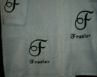 Monogram Letter Initial Personalized 3 piece Bath towel, hand towel & Washcloth Set