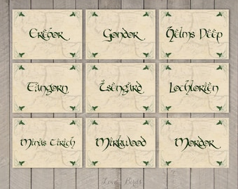 Wedding Hobbit Table Cards - set of 13 - Digital file