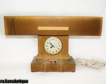 Vintage Art Specialty Fluorescent Litemaster Executor Desk Lamp Clock Steampunk