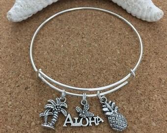 ALOHA-HAWAII Charm Bracelet-Silver-Plated Bangle, Antique Silver Charms-Palm Trees Charm, Pineapple Charm, Aloha-Flower Charm, Hawaii Charm