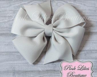 Gray Hair Bow - Gray Pinwheel Hair Bow - Gray Pinwheel Bow - Gray Pinwheel Hair Clip (Item #10221)