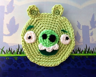 Crochet applique Angry Birds Pig, Bad Piggies, Pattern