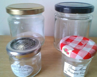 "Small Glass Jars x4, 3 1/4"" high to 1 1/2"" high"