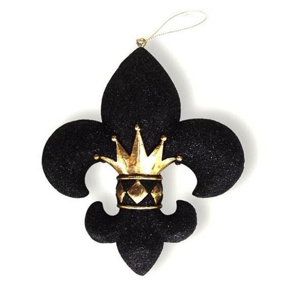 Crown fleur de lis christmas holiday saints ornament black