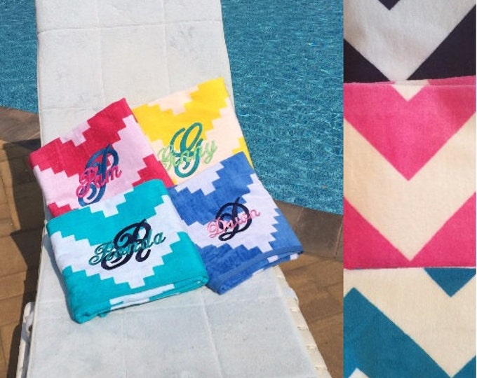 Large OVERSIZED CHEVRON Beach towel Personalized or Monogrammed Personalized Beach Towel