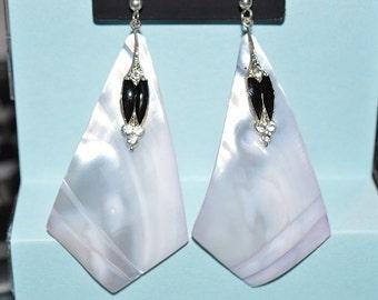 Beautiful Vintage Soft Purple Mother of Pearl, Black Enamel and Rhinestone Oval Earrings (1017142)