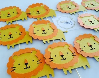 Handmade Cupcake Toppers - Lion Jungle Safari Theme x 12