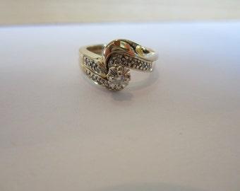 Diamond Wedding Set, 10k Yellow Gold Diamond Wedding Set, Vintage Engagement, Diamond Cluster