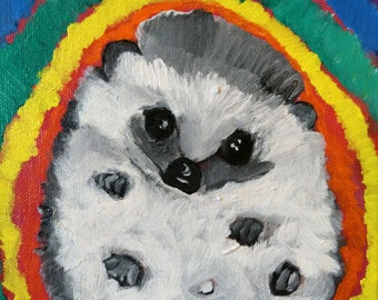 Greeting Cards,4x5.5 inches, Archival Gloss Reproduction available (original acrylic sold), Rainbow Love Hedgehog/ LisaLaserArt