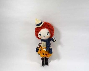 soft doll, fabric doll, cloth doll, little doll,Curly Red-Haired Girl DOLL,joohongbit