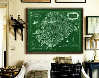 "Munster map 1636, OId map of Irish province Munster, 4 sizes up to 45x36"" 110x90cm also in green, Ring of Kerry - Limited Edition of 100"