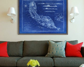 """Curacao map 1775, Old map of Curaçao Island, 4 sizes up to 48x36"""" (120x90 cm) Curaçao, Caribbean, also in blue - Limited Edition - Print 5"""