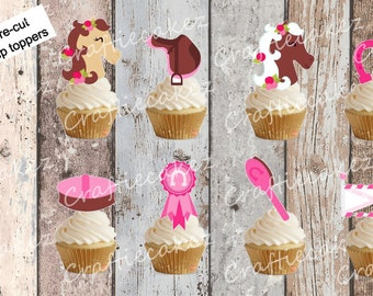 24 x Pre Cut Edible Horse Riding Stand Up Cupcake Toppers