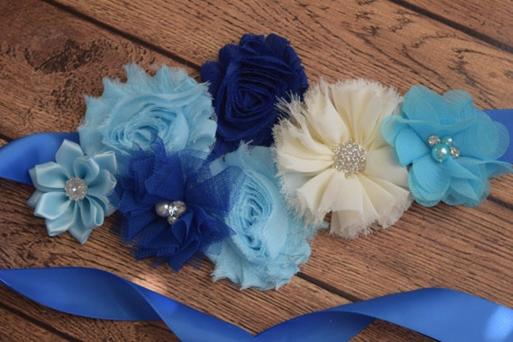 Sash,Blue, navy and ivory Sash , flower Belt, maternity sash