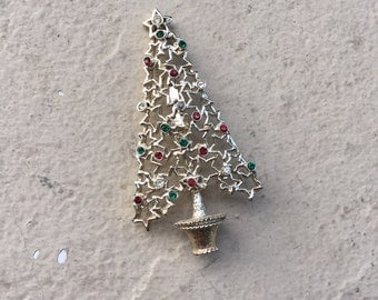 Tancer II Signed Vintage Cut Out Stars Gold Rhinestone Jeweled Christmas Tree Brooch Pin