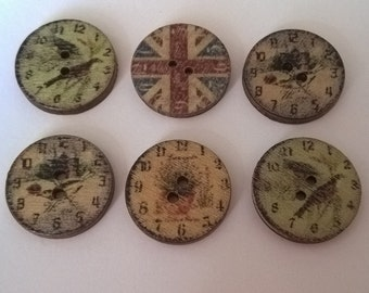 Pack Of 20 Vintage Style Clock Face Buttons