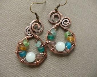 Seaglass Jewellery Earrings, Beach Glass Earrings, Beachy Earrings, Ocean Jewelry Copper, Pastel Earrings, Sea Glass, Wire Wrap Jewelry,