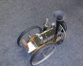 Steampunk tractor train lamp
