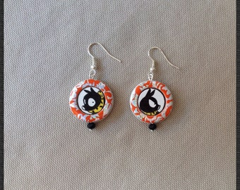 Hand painted wood earrings, P-chan