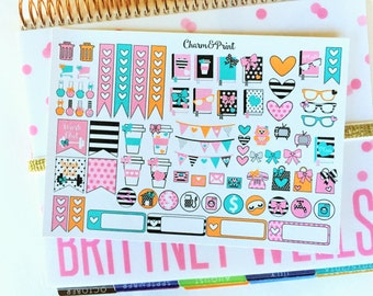 Weekly Planner Kit // Brights // Planner Stickers
