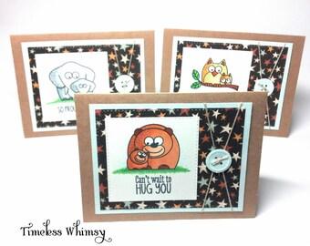 Bear, Elephant, Owl, Parent to Child Handmade Cards