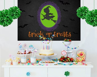 Halloween Personalize Backdrop -Little Witch Cake Table Backdrop Birthday- Trick or Treat Backdrop