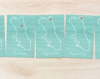 chicago neighborhood map 4x6 mini-print (avondale, bucktown, edgewater, rogers park, wicker park) // chicago art print // chi town