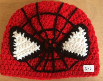 CLEARANCED ~ Crocheted SpidermanHat ~ size 3-6mo. Winter clearance Reduced