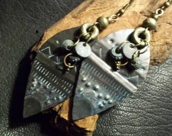 Ethnic Patina Earrings-Earthy Tribal Earrings-Rustic Bohemian Earrings-Tribal Jewelry