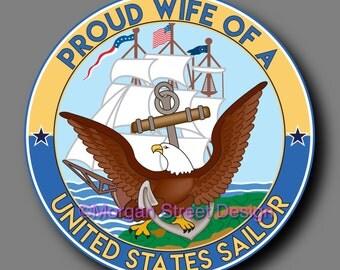 US Navy Sailor Wife Die Cut Vinyl Decal Sticker