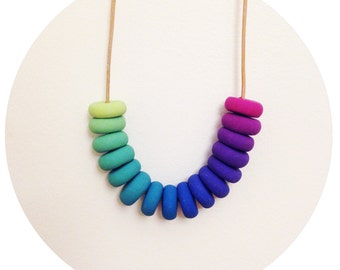 Fruits of the Forest - Blue, Green and Purple Handmade Polymer Clay Necklace