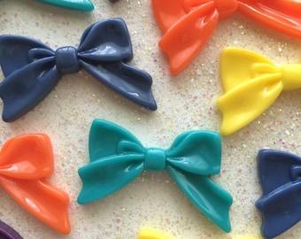 Fairy Kei Bows, 45mm Resin Bow Cabochon ( 5 pcs ) - Kawaii Cabochon - Decoden - Flatback - Resin Cabochon Bow