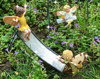 Fairy playground, Miniature playset, fairy garden slide, fairy garden swing, miniature playground, mini slide, fairy accessories