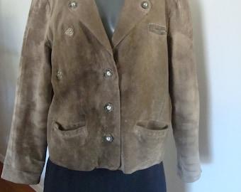 Vintage Bavarian Suede Trachten Coat Hochtann